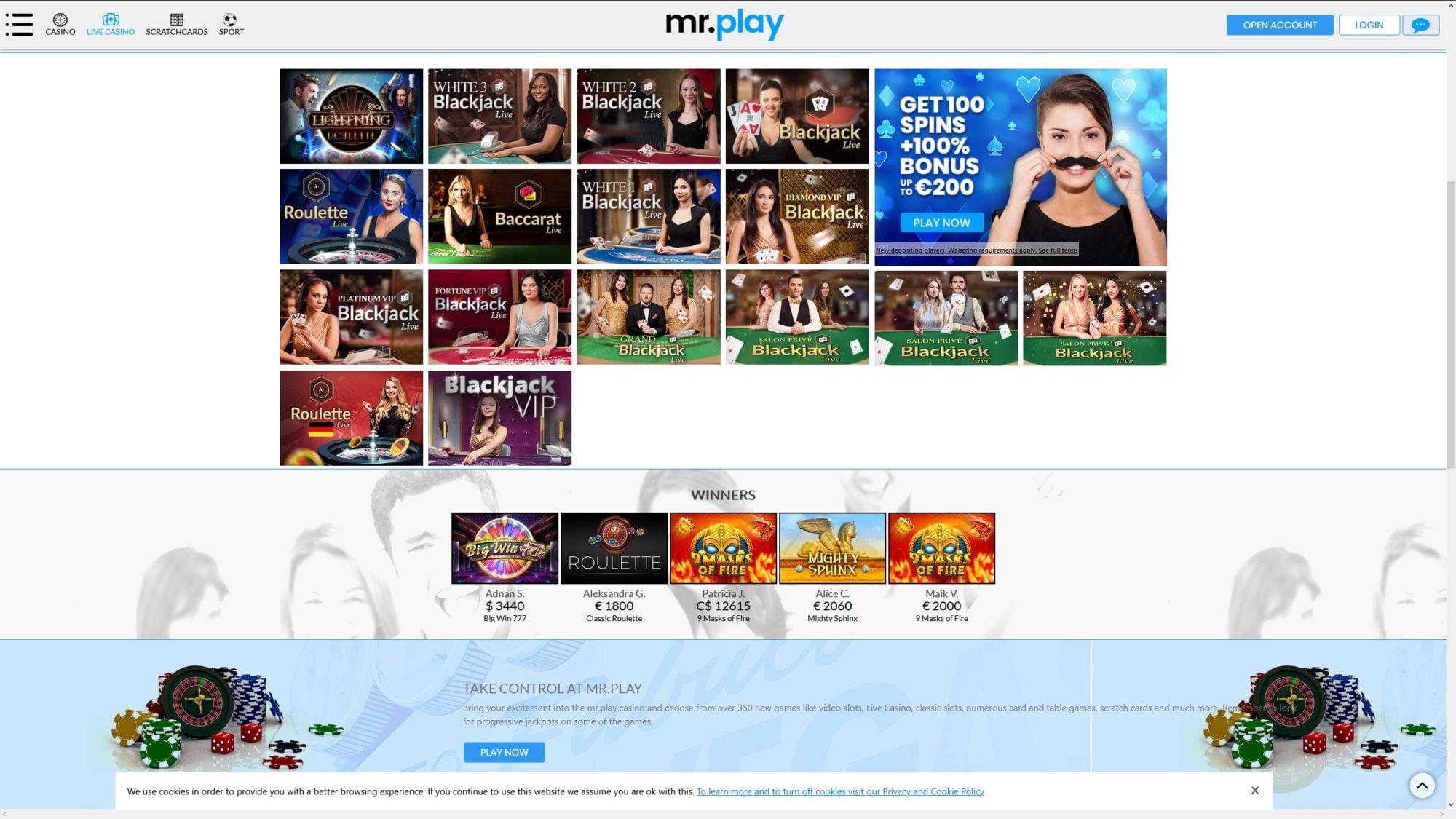Mr. Play Casino - Play Live Casino