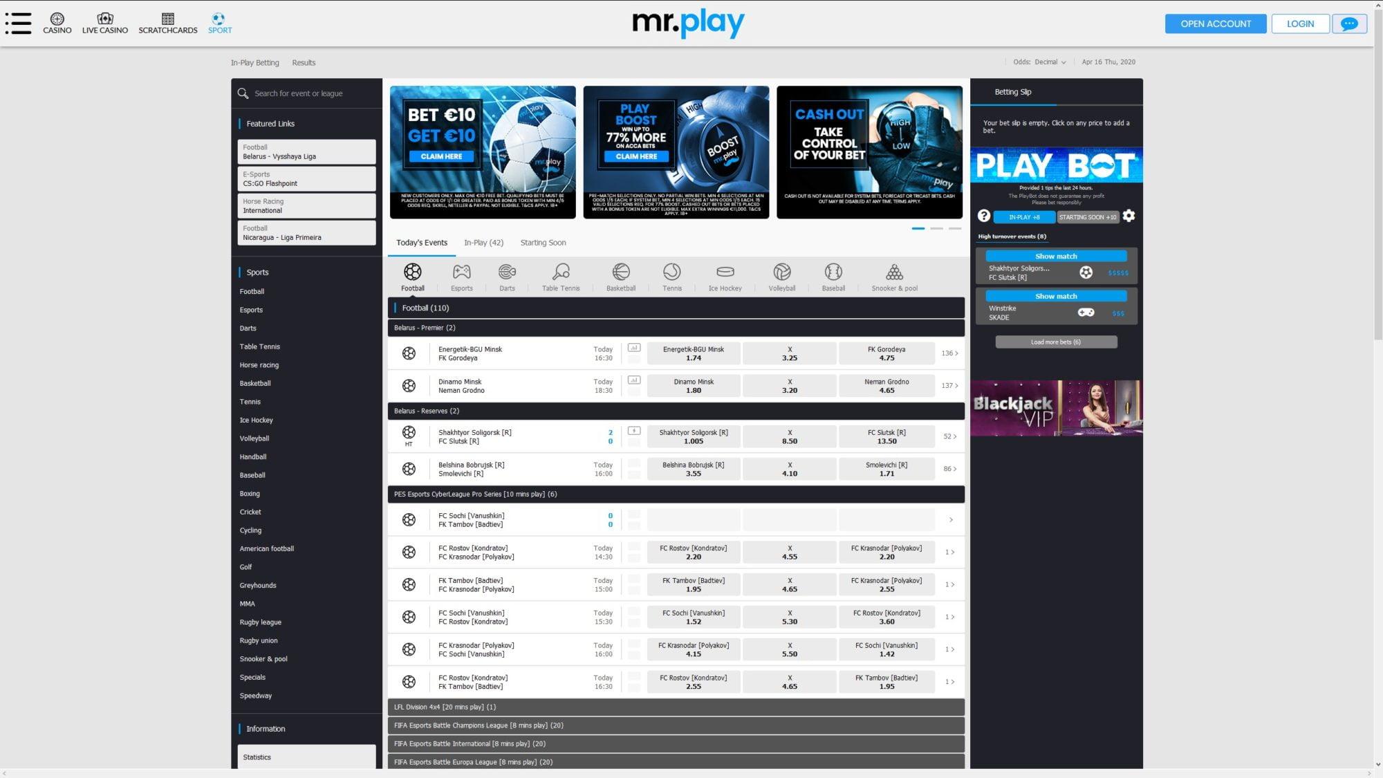 Mr. Play Casino - Bet on Sports