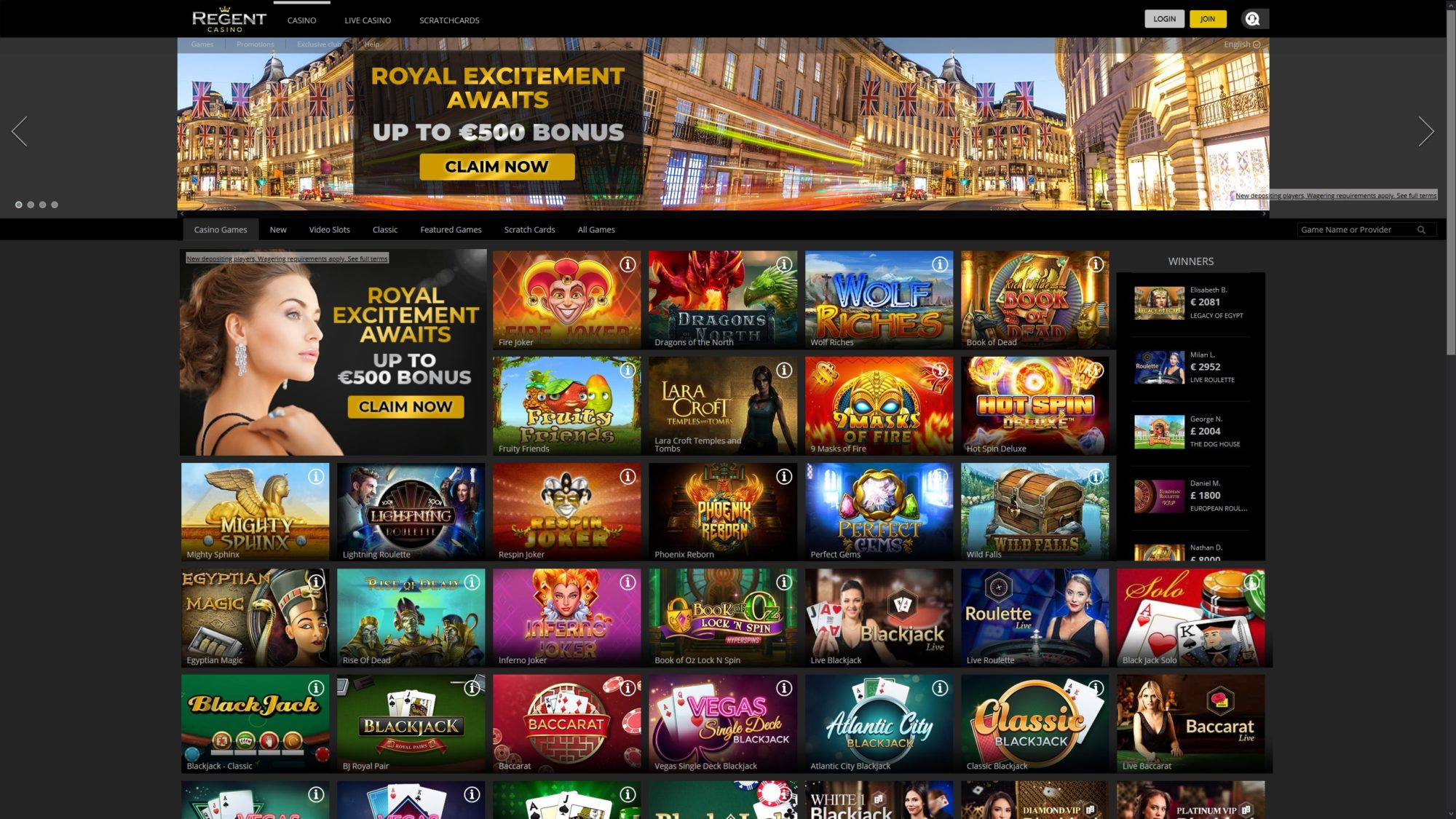 Regent Casino Offer Many Casino options