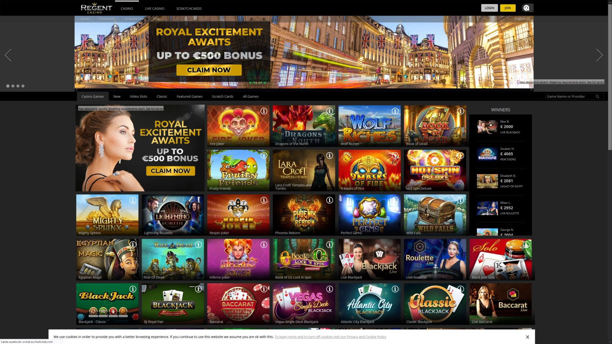 Regent Casino - Frontpage Sneak Peak