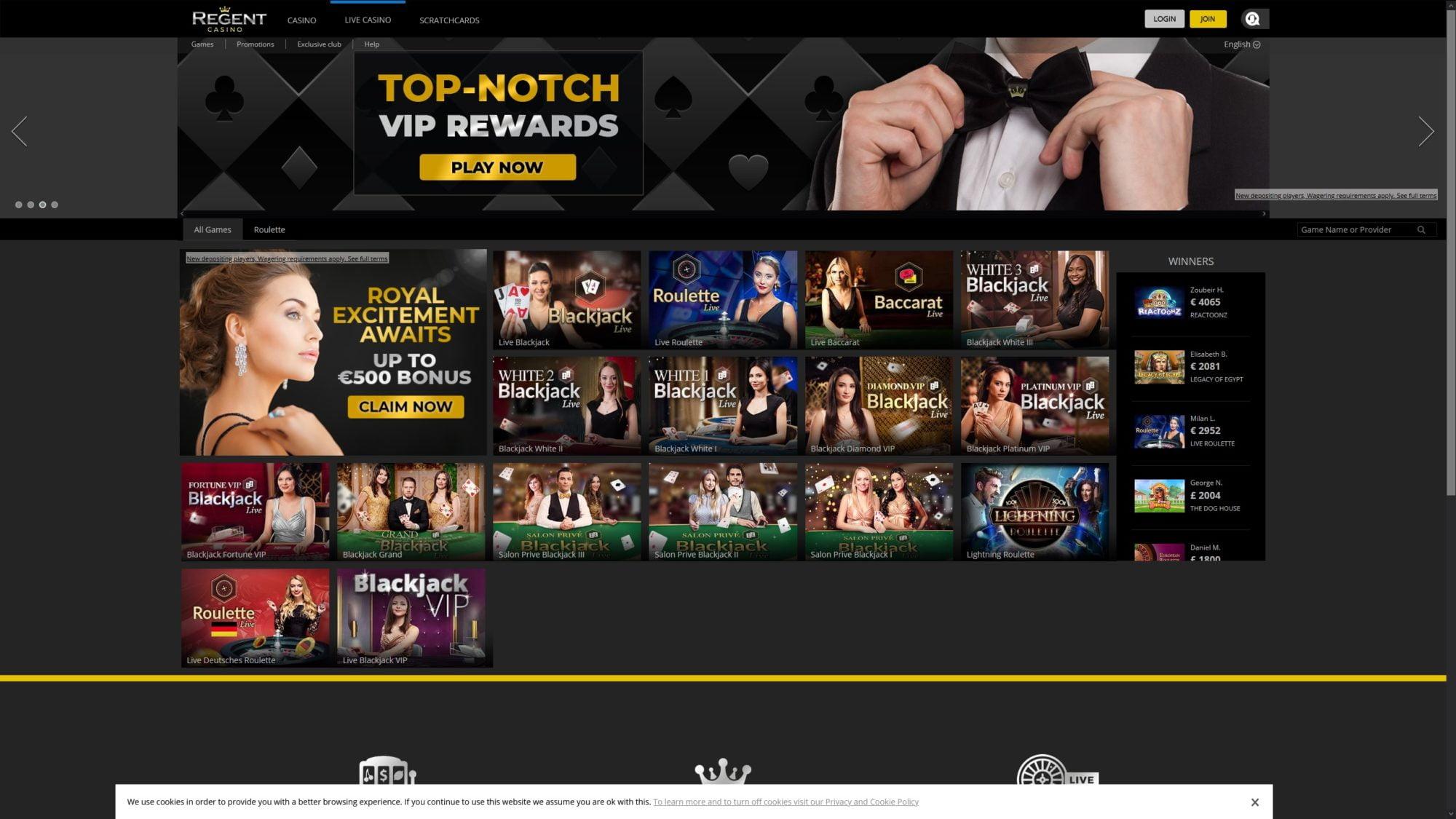 Regent Casino Offers Live Casino
