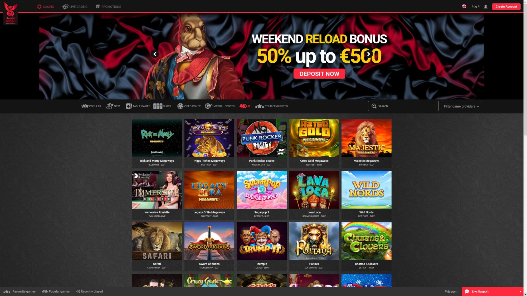 Royal Rabbit Casino Offers Many Games