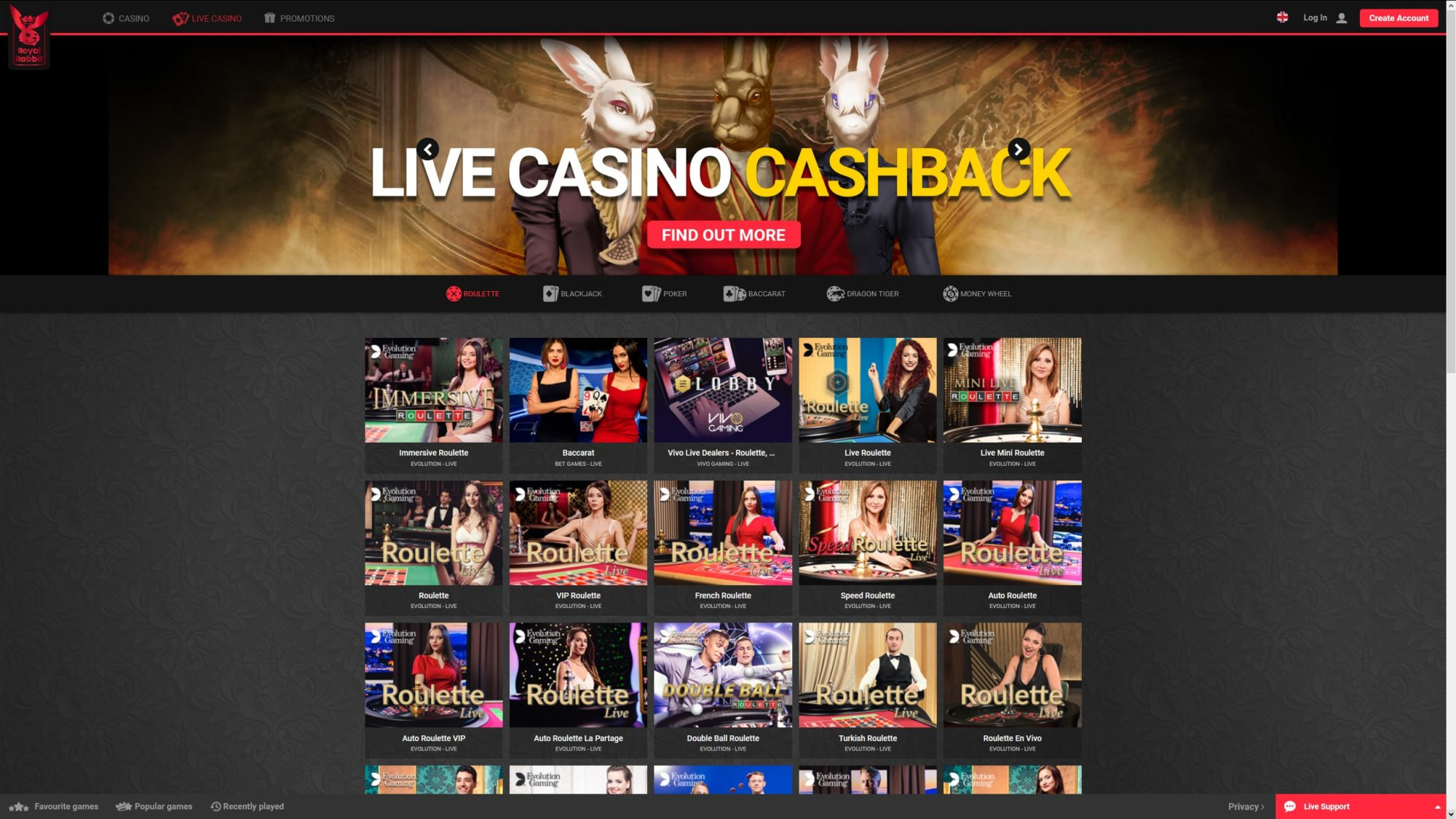 Royal Rabbit Casino Offers Live Casino