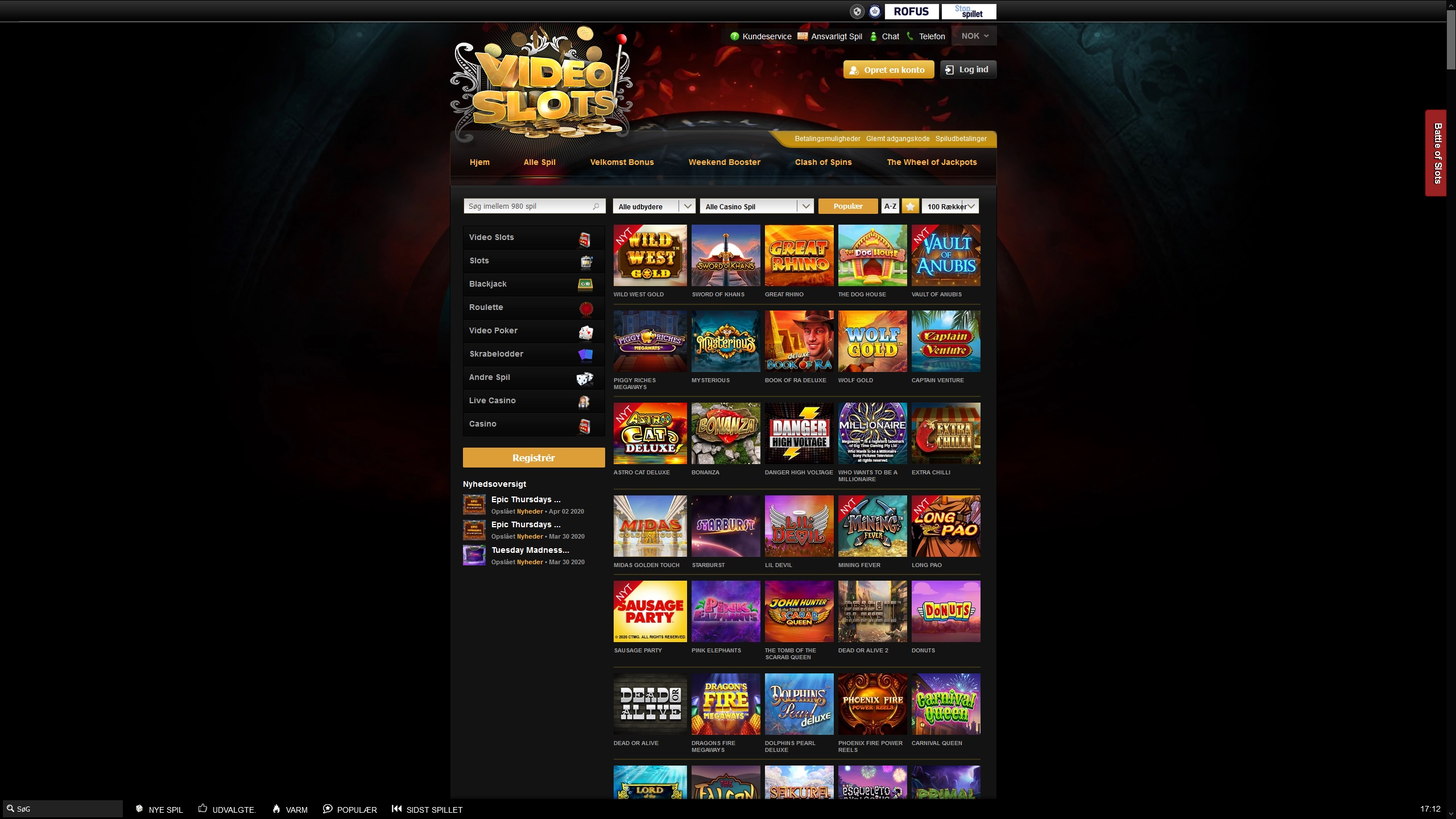 VideoSlots Casino Options