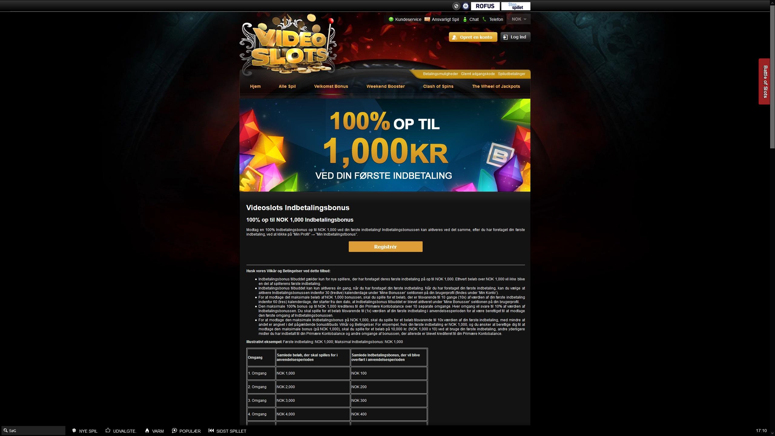 Clam Welcome Bonus at VideoSlots Casino