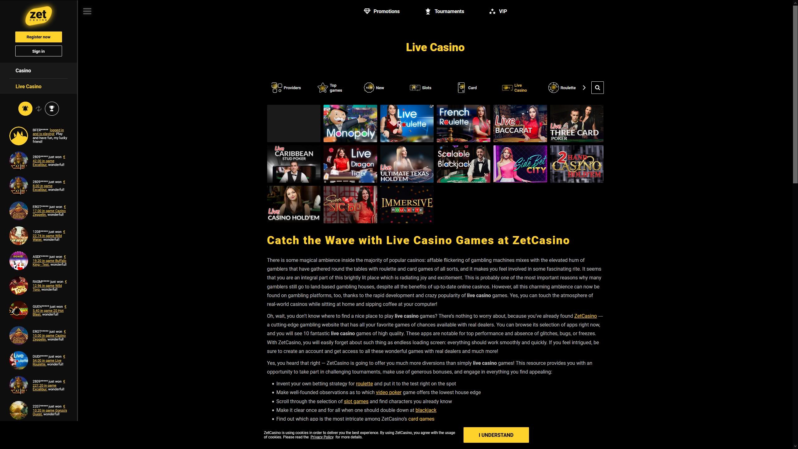 Try Zet Casino Live